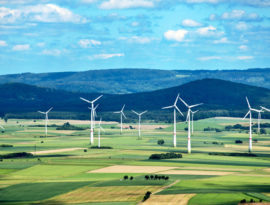 Image of wind farm in green countryside