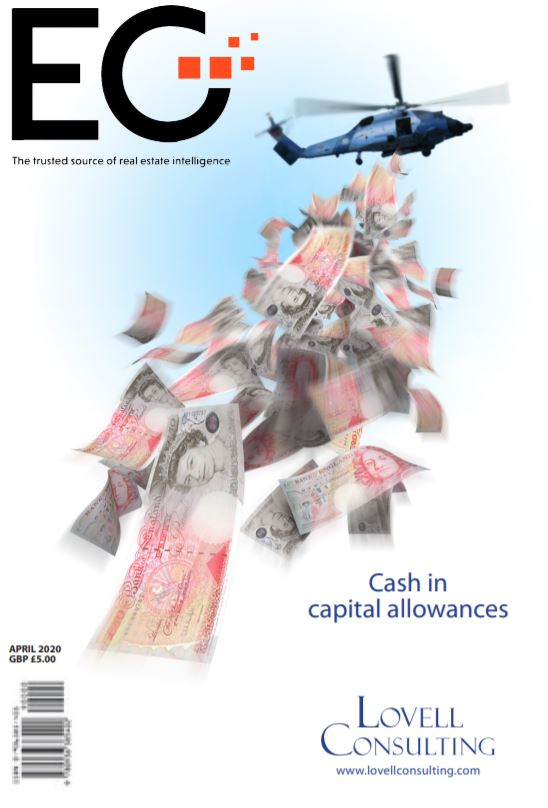 EG - magazine cover showing helicopter with money falling from it